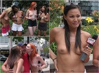 Нүцгэн ТВ хөтлөгч бүсгүйчүүд гудамжинд хандив цуглуулав