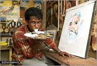 Хэлээрээ зурдаг зураач залуу
