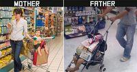 Ээж аав нарын хүүхдээ харж буй хөгжилтэй ялгаа